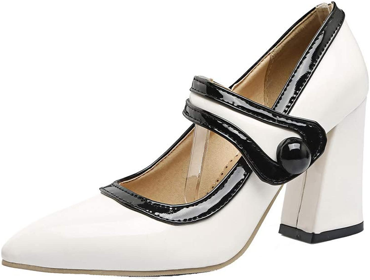 AllhqFashion Women's Patent Leather Pull-On Square Closed Toe Pumps-shoes,FBUDD012056