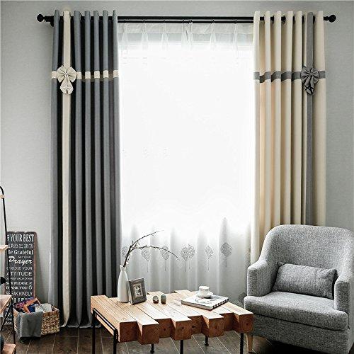 clichtg algodón y lino + Blanca hilo 209cortinas costuras cortinas opaca con ojales para dormitorio salón restaurante Balcón 2unidades, 245cm x 140cm (H x B), 2unidades)