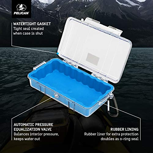 Pelican 1060 Micro Case - for iPhone, Cell Phone, GoPro, Camera, and More (Blue/Clear)