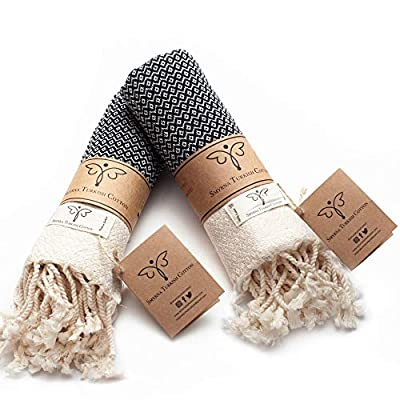 Smyrna Original Turkish Hand Towels Set of 2 | 100% Cotton, 16 x 40 Inches | Decorative Bathroom Peshtemal Towel for Hand, Face, Hair, Gym, Yoga, Tea, Dishcloth, Kitchen and Bath (Black)
