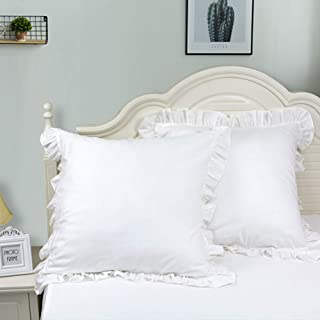TEALP Decorative Euro Shams White Cotton Ruffle Pillow Cover 26x26 inch