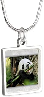 Royal Lion Silver Square Necklace Panda Bear Playing Bamboo Flute