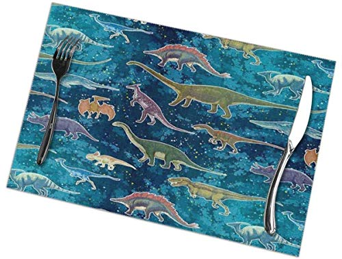 Juego de 6 manteles individuales de dibujos animados de dinosaurios, lavables, antideslizantes, resistentes a las manchas, para mesa, antideslizantes, de 12 x 18 pulgadas
