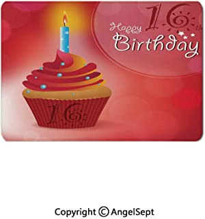Hot Sale Waterproof Coating Mouse Pads,Little Cupcake with Candle Greeting Message Romantic Print Red Orange Blue,8.7x11x0.12inches,for Computers,Laptop,Office & Home