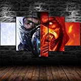 XHYUE Leinwandbilder Bild 5 Teilig Scorpion Sub-Zero Mortal