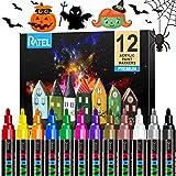 Acrylstifte Marker Stifte, RATEL 12 Farben Premium Wasserfest Paint Marker Set Wasserfest Permanent Art Filzstift Acrylic Painter für DIY Stein, Leinwand, Papier, Glasmalerei, Metall-Mittlerer Spitze