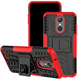 LG Aristo 2 Case, for LG Tribute Dynasty/LG Zone 4/LG Fortune 2/LG K8 2018/LG K8+ Case, Viodolge [Shockproof] Hybrid Tough Rugged Dual Layer Protective Phone Case Cover with Kickstand (red)