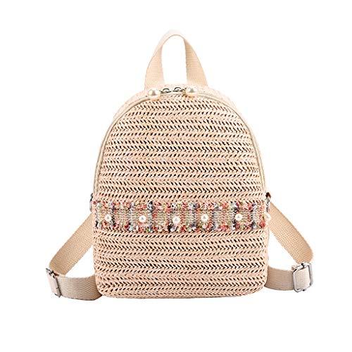 COZOCO Frauen Mode Freizeit Farbe passende Wild Travel Bag Stroh Student Tasche Rucksack(c)