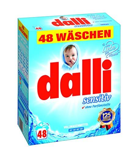 dalli® sensitiv Vollwaschmittel-Pulver I 48 Waschladungen I gute Hautverträglichkeit bei hervorragender Waschkraft | weiße Wäsche | 3,12 kg