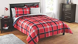 7 Piece Full Size Kids Boys Girls Teens Comforter Set Bed in Bag with Shams, Sheet Set, Red Plaid Pattern Print Teens Kids Comforter Bedding w/Sheets, MS Plaid Red