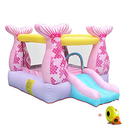 Fish Tail Bouncy Castle Inflatable Children Activity Play Center Trampoline Outdoor House Jumper Water Slide Combo?Garden for with Electric Air Blower Oxford Cloth Material 280X215X195CM,Pink