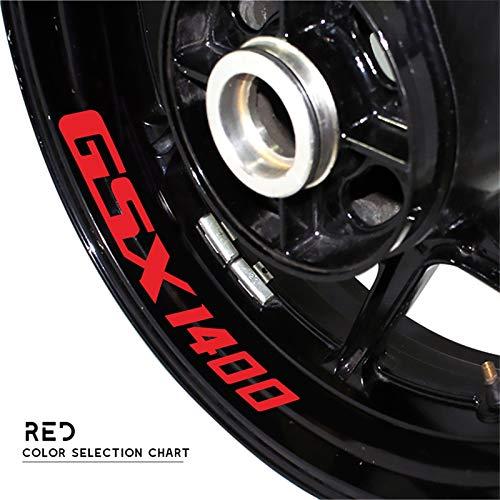 Uytkagz Etiqueta de neumáticos de la Motocicleta Pegatina Reflectante Cinturón de la Bicicleta Decoración de la decoración Forma Impermeable for Suzuki GSX1400 GSX 1400 (Color : Reflective Red)
