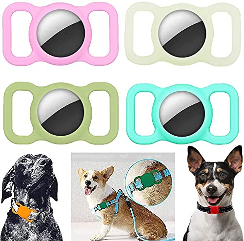 Custodia protettiva in silicone per animali domestici – Apple Airtag GPS Finder cane gatto collare Loop, regolabile anti-perso Locator Airtags, per animali domestici bambini anziani borse (4PCS)