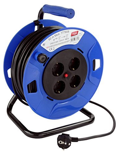Tayg 777608 - Enrrollacable 4 bases, 250 V, 13 A, 3.000 W, Cable H05VV-F 3G1.5, 50 metros