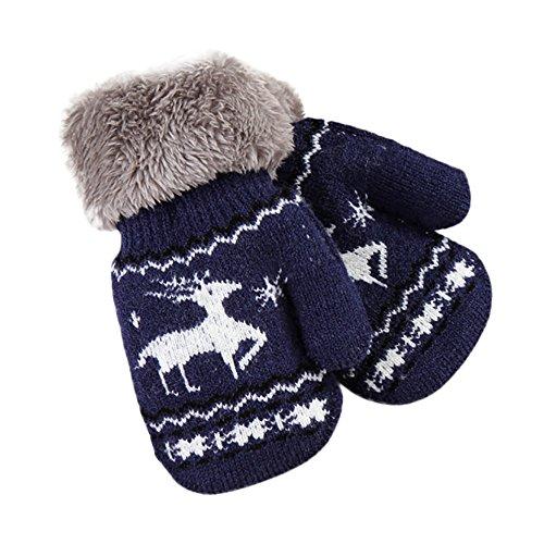 EROSPA EROSPA® Baby Kleinkinder Handschuhe - Warme Winter- Handschuhe Rentier - Blau
