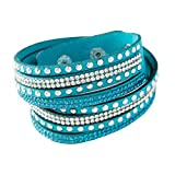 Yazilind Leder Wickelarmbänder Strass und Muti-Color Perlen Stulpearmband, Charm Multilayer Armband Damen Schmuck Hellblau