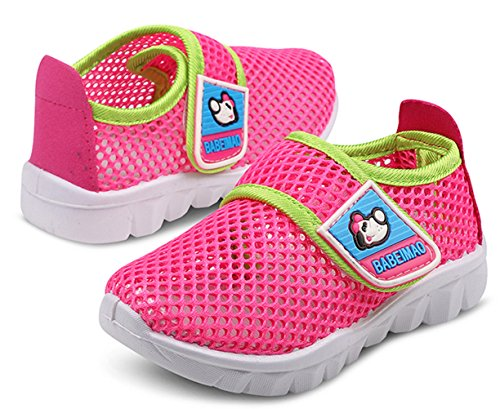 DADAWEN Toddler Little Kid Boys Girls Water Shoes Breathable Mesh Running Sneakers Sandals for Beach Swimming Pool Rose Red US Size 9 M Toddler