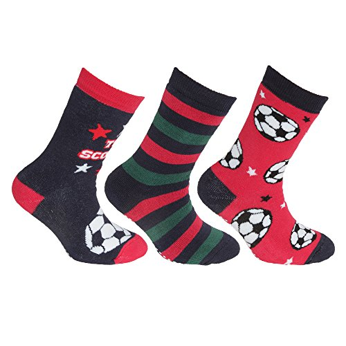 Floso FLOSO® Kinder Rutschfeste Socken (3 Paare) (UK 6-8.5 (EUR 23-26)) (Rot/Marine)