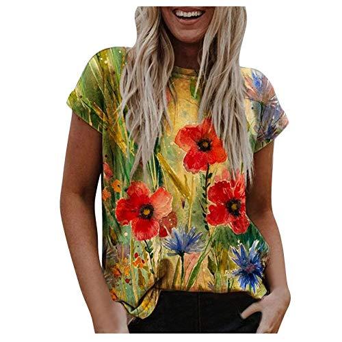 Camisas florales vintage con cuello redondo para mujer de manga corta, camiseta básica para mujer