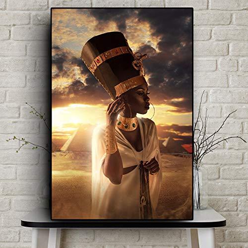 ganlanshu Oro Negro Arte Africano Mujer Pintura al óleo sobre Lienzo póster decoración de la Sala de Estar escandinava,Pintura sin Marco,75x112cm