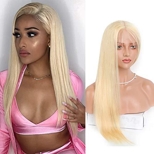 Volvetwig Straight Hair Wig 613 Blond Hair 13x4 Front Lace Wig Echthaar Perücke Platinum Blonde Lange Glatt Haare Free Part Swiss Lace mit Baby Hair 20 zoll/ 50 cm