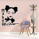 Etiqueta engomada de la pared de la muchacha del maquillaje simple decoración decoración moderna de la habitación de los niños etiqueta engomada impermeable etiqueta de la pared A8 57x66cm