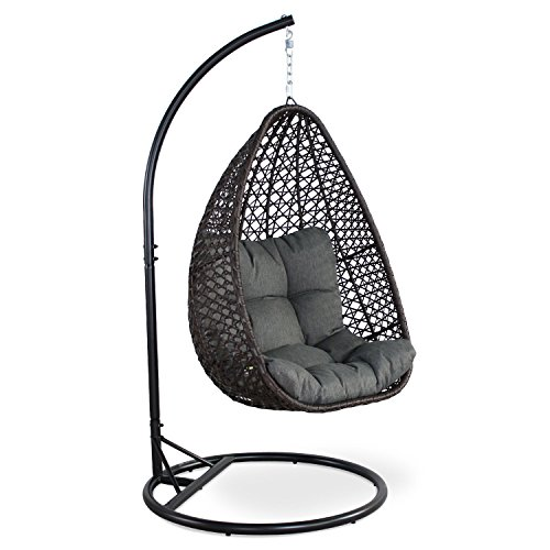 Alice's Garden - Hanging chair - Egg chair - Hanging love seat in brown rattan with thick grey cushion, retro egg chair, hammock chair