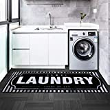 USTIDE Striped Laundry Room Mat Black Nonslip Rubber Laundry Room Runner 20'x48' Laundry Décor for Wash Room/Mudroom Cushioned Kitchen Mat Bathmat