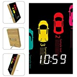 Lyetny Colorful Racing Race Car Acrylic LED Light Alarm Clock Battery Power Supply for Bedroom, Office