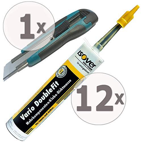 Gardopia Sparpaket - ISOVER Vario DoubleFit Universal-Klebe-Dichtmasse in Kartusche, 12 x 310 ml, plus GRATIS Nespoli soft touch Cutter 18 mm (inkl. 3 Klingen)