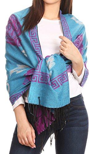 Sakkas 1751 - Soffia Damask Rose scialle di scialle di Pashmina Super Soft e Warm Vegan Work - Turq/white/purple - OS
