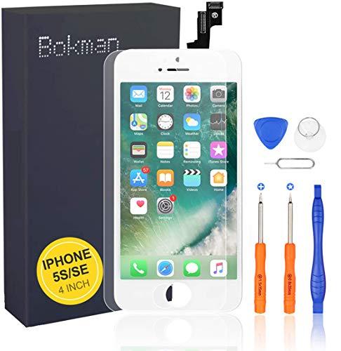 bokman Écran Tactile LCD pour iPhone 5s/Se Blanc, Vitre Tactile avec Kit de Réparation