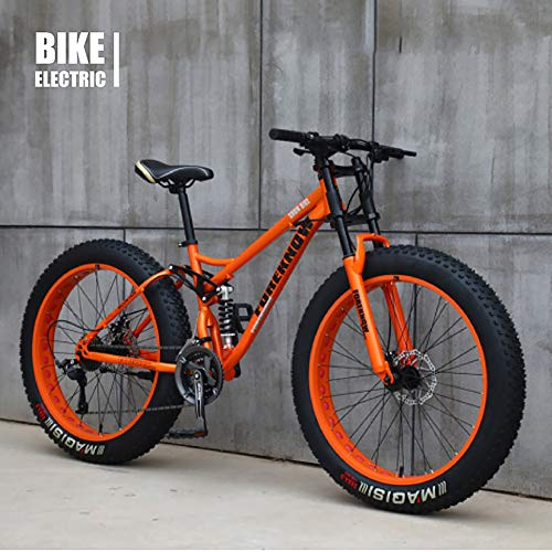 XIAOFEI Fahrrad 26 Zoll MTB Top, Fat Wheel Motorrad/Fat Bike/Fat Tire Mountainbike Beach Cruiser Snow Bike Big Reifen Fahrrad 21 Speed Fat Bikes für Erwachsene,Orange,26IN
