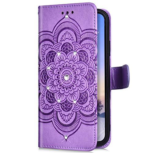Uposao Compatible avec LG G8 ThinQ Coque Glitter de, Portefeuille PU Premium Housse Etui Cuir à Rabat Magnétique,Mandala Fleur Paillette Glitter Diamant Stand Folio Flip Case,Violet