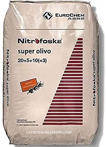 Suinga. ABONO Super Olivo 25 Kg Nitrofoska 20-5-10 + MG + S + Fe + Zn. El abono Complejo más eficaz, equilibrado y Completo para su Olivo y césped.