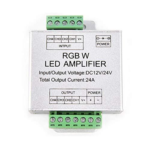 Tesfish DC12 / 24V 24A Amplificador de tira de Led RGBW Salida de 6 x 4 canales Tira llevada de RGBW Controlador de consola Power Repeater