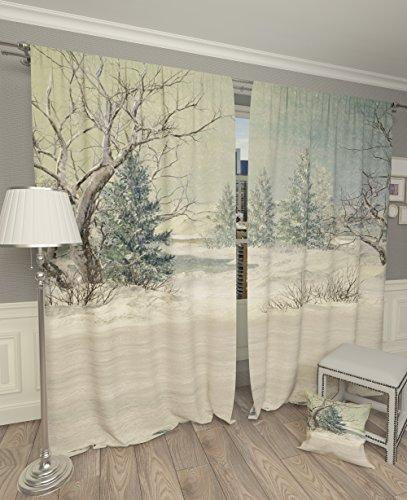 Lemare Rideaux occultants 2 x 145 x 260 cm avec Paysage d'hiver Impression numérique Isolation Thermique Chambre à Coucher 2 Panneaux