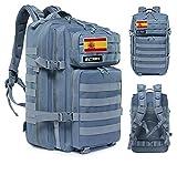 Elitex mochila 45l táctica militar bandera españa impermeable para crossfit caza aire libre deportes gimnasio portatil (gris)