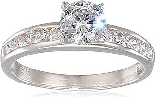 Mogul 银方晶锆石套装单粒戒指