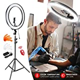 Neewer 18' Exterior SMD LED Luz Anillo Regulable Kit de Iluminación con Soporte 79', Receptor Bluetooth, Soporte Giratorio para Cámara Smartphone Retrato Maquillaje Video Youtube (Enchufe UE/EE.UU.)