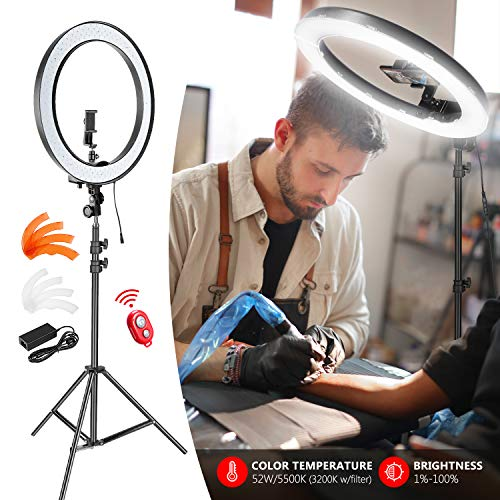 Neewer Ring Light with Stand and Phone Holder Kit: 18-inch Outer 52W 5500K Dimmable LED Light Ring with White/Orange Filter for TikTok YouTube Video/Selfie/Makeup/Live Streaming (No Carry Bag)