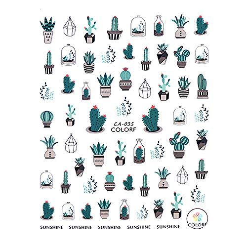CAOLATOR.Nagelaufkleber Selbstklebend Nail Art Sticker Nagel Kunst Aufkleber Mädchen Damen Nagel Aufkleber Sticker Karikatur TIPP Maniküre Dekoration Kaktus