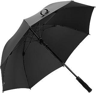 JSSFQK ゴルフ傘ダブル傘布大折りたたみ傘ロングハンドル雨と雨の傘 傘 (色 : ブラック)