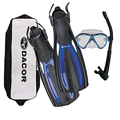 Dacor Mariner Scuba Diving & Snorkeling Package   Open Heel Fins, Mask & Semi-Dry Snorkel Set w Carry Bag   Pro Grade Performance & Comfort at Recreational Prices   Men & Women (Blue, Extra Large)