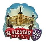 El Alcázar Toledo España Europa Ciudad Mundial resina 3d fuerte imán nevera recuerdo turístico regalo chino hecho a mano creativo hogar y cocina decoración magnética etiqueta