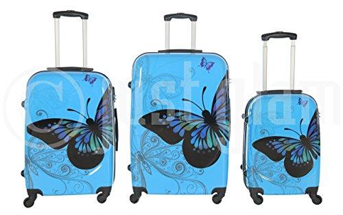 Trolley valigia set valigie rigide set bagagli in policarbonato abs super leggeri 4 ruote piroettanti trolley piccolo adatta per cabina con compagnie lowcost art farfalla / azzurro