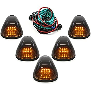 Red Hound Auto Compatible with Ford Super Duty 1999-2016 5-Piece Smoked Lens Amber LED Cab Roof Running Marker Light Set Complete Kit with Wiring Harness
