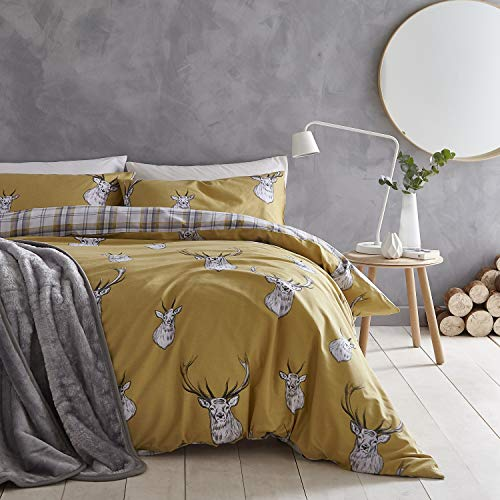 Catherine Lansfield Duvet Cover + Pillowcase 150 cm 100% Cotton, Ochre, 240 x 220 + 2/50 x 85 cm, 3