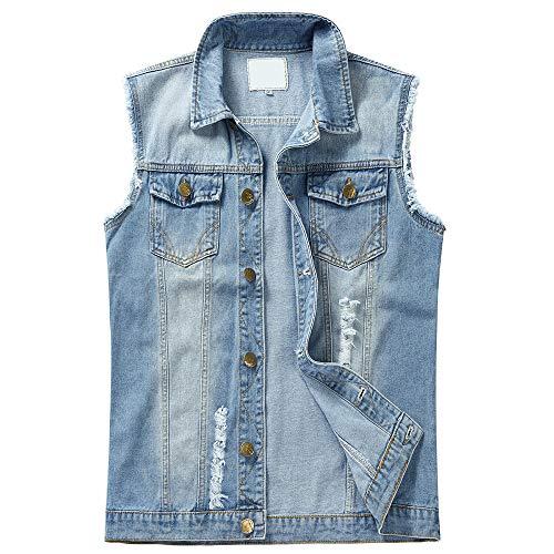YOUTHUP Herren Denim Weste Zerreißendes Deko Fashion Casual Jeansweste für Freizeit