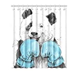 FUNNY KIDS'HOME Cartoon Boxing Panda Fabric Shower Curtain Waterproof Polyester Peva Curtain with Hooks Novelty Bathroom Decor 72 by 72 inches